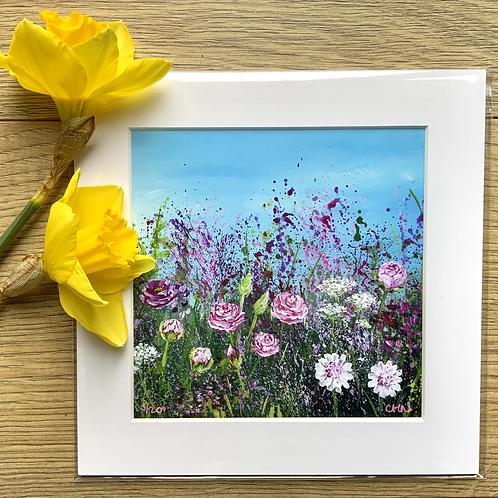 """Rose Meadow  8"""" Mini mounted print"""