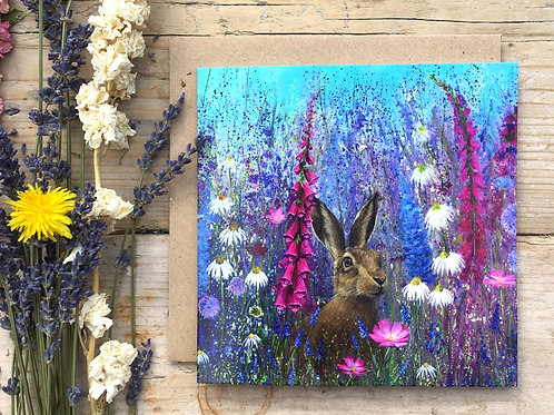 'Meadow hare' greeting card