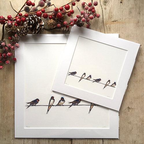 'Six Swallows' print