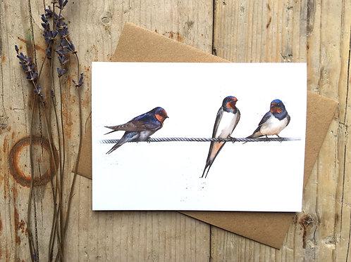 'Home Bird' Swallow A6 Greeting card