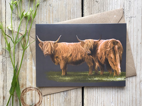 Highland cattle greeting card 'Highland Duo'