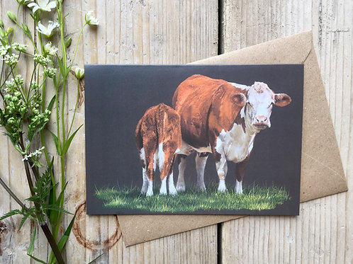 'Hereford Cow and Calf' Greeting Card