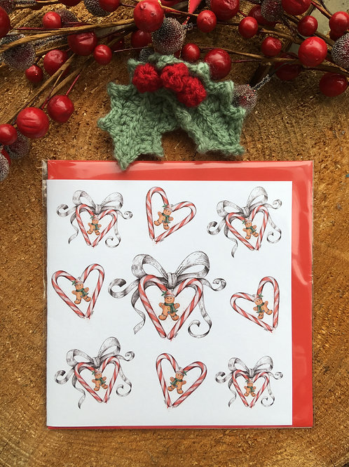 Christmas Card 'Multiple Candy hearts and bows'