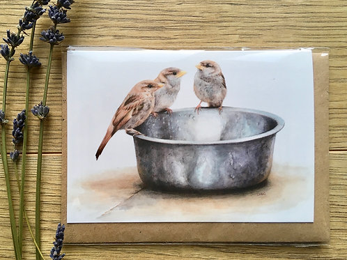 House Sparrows greeting card 'Breakfast with Angus'