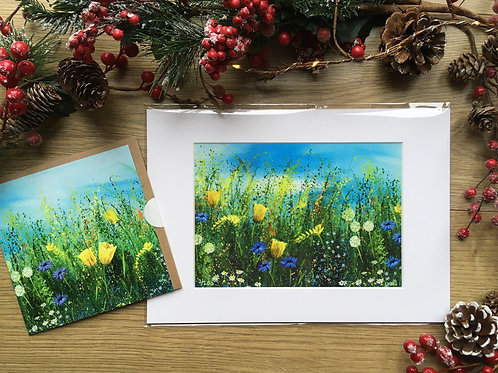 A3 'Spring burst' print and matching card