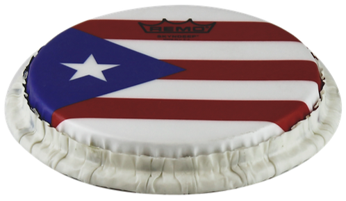 REMO TUCKED SKYNDEEP BONGO DRUMHEAD - PUERTO RICAN FLAG GRAPHIC, 7.15""