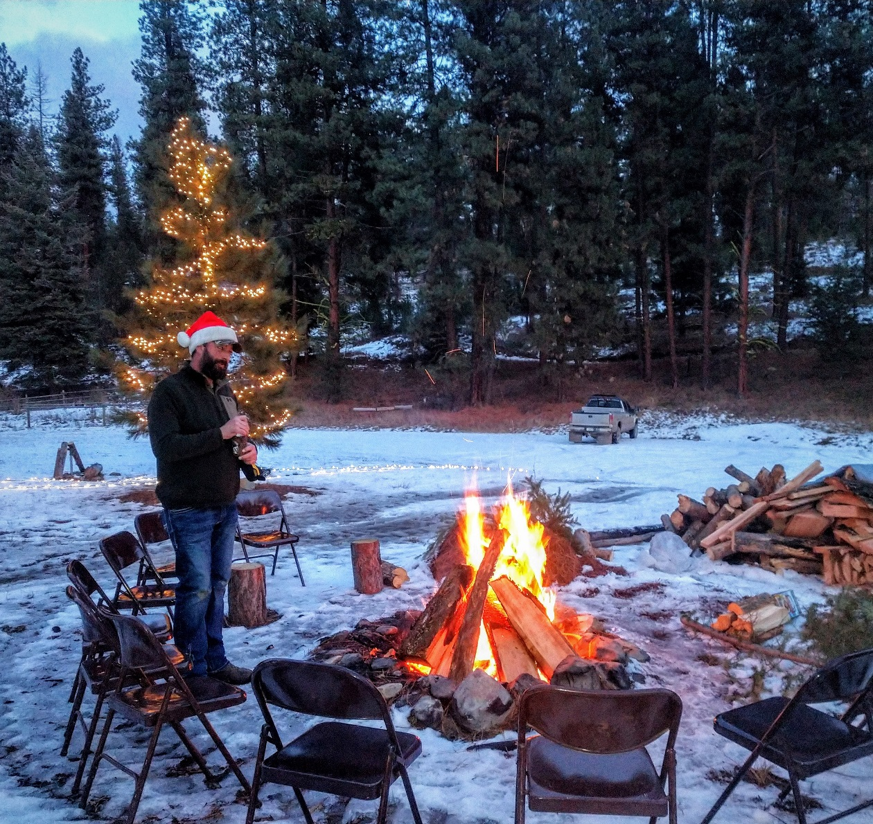 Christmas Eve bonfire