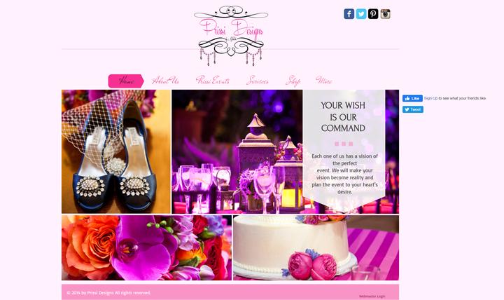 prissi designs event planning site