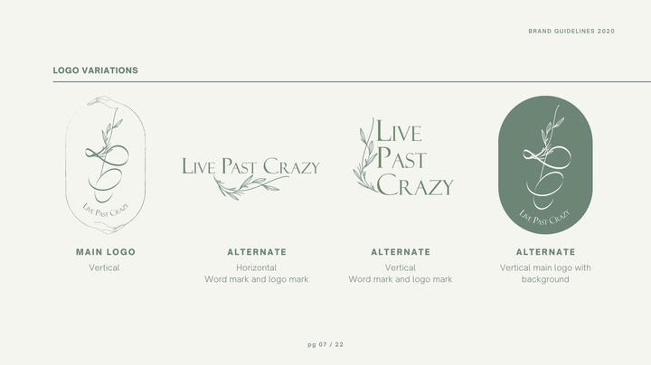 Live Past Crazy Brand Guidelines Present