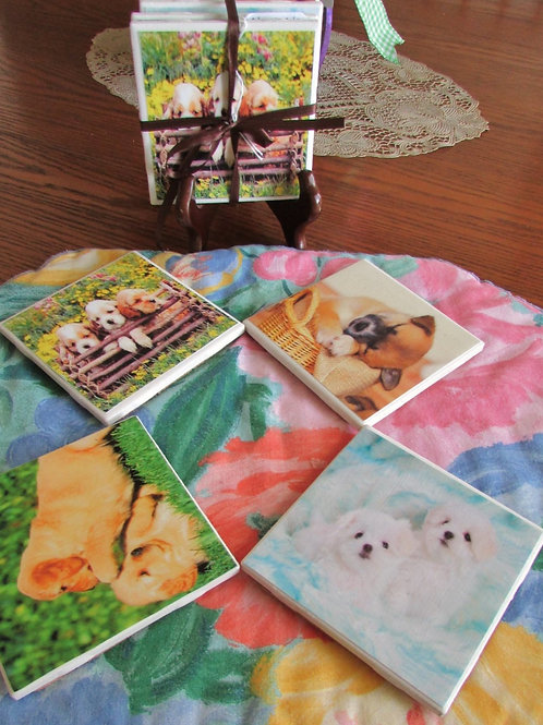 Adorably Cute Puppies Coasters (Set of 4)