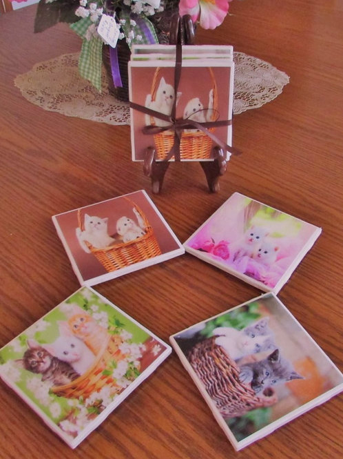 Cute and Cuddly Kittens Coaster Set (Set of 4)