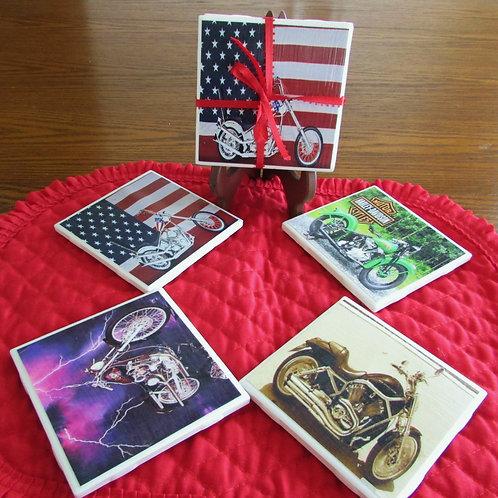 Harley Davidson Motorcycles (Set of 4)