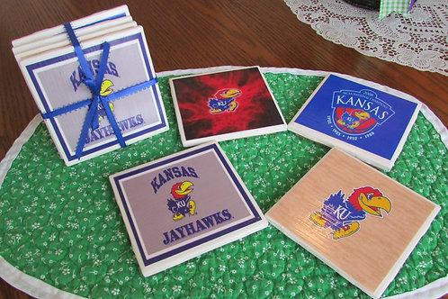Kansas University Jayhawks Coaster Set