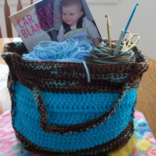 Turquoise Crocheted Tote Bag