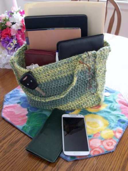 Green Crochetted Tote - Medium Size
