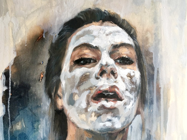 Self portrait with facemask and fear of disappearing