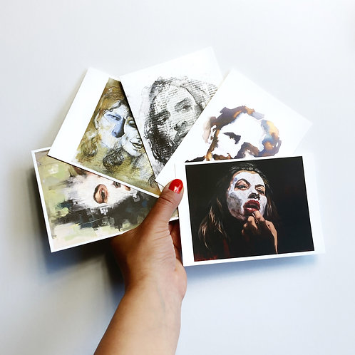 "5 Postcards ""Faces I"""