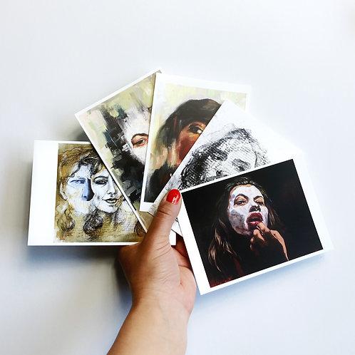 "5 Postcards ""Faces II"""
