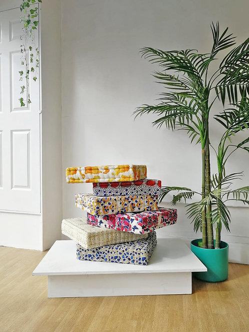 French Floor Cushion featuring local Bristol fabric designer