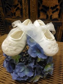 White Silk Christening/Baptism Shoe