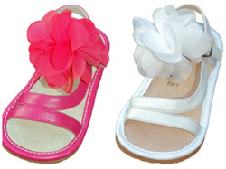 Leather Sandal with Attached Flower