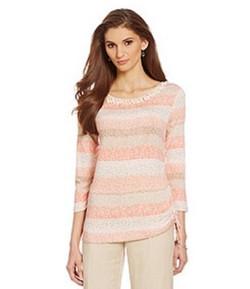Ruby Road Peach Multi-color Pullover