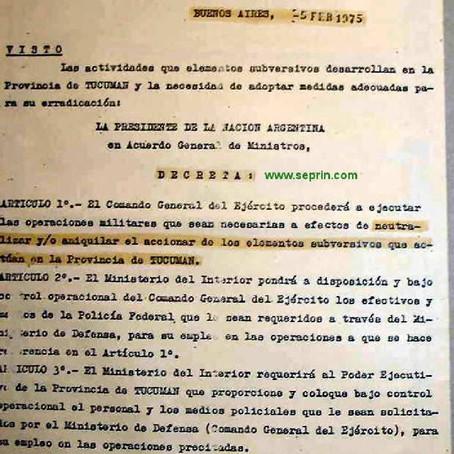 Decreto 261/75 Poder Ejecutivo Nacional