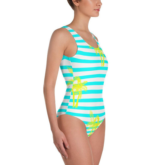 Find Your Coast Swimwear One-Piece Neon Palm Swimsuit