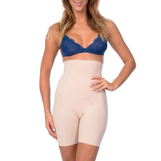 Extra Hi Waist Long Boy Leg Shaper With Targeted Double Front Panel Nude