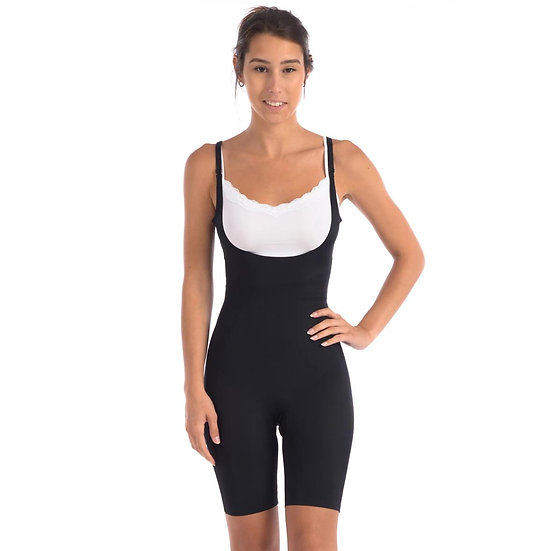 Wear Your Own Bra Bodysuit Shaper With Targeted Double Front Panel Black