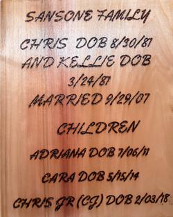 Kellie Family Plaque