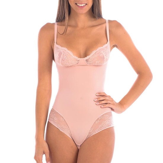 Bodysuit Shaper With Sexy Lace Detail Blush