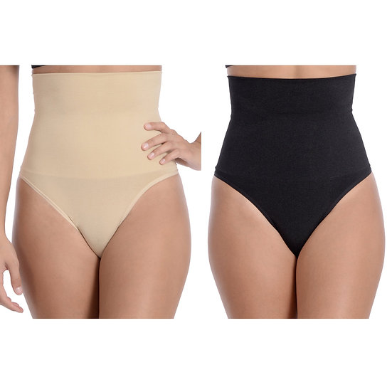Seamless Hi-Waist Shaper With Thong Bottom - 2 Pack