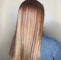 Copper red and pops of blonde was what i