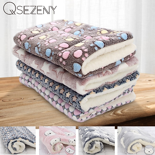 Soft Flannel  Fleece Pad Pet Blanket For Cold Winter Nights