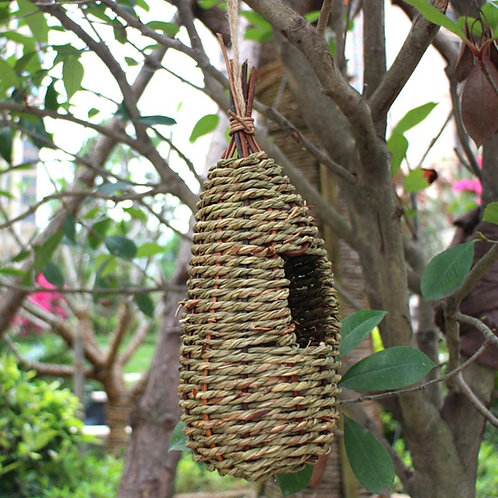 Hanging Woven Bird House, Natural Fibres