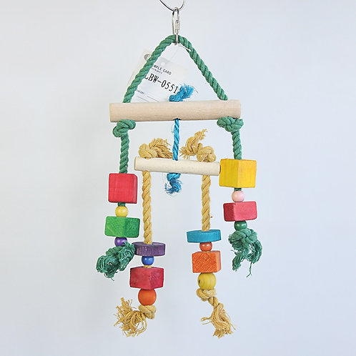 Wooden and Rope Boredom Breaker for Birds and Rodents