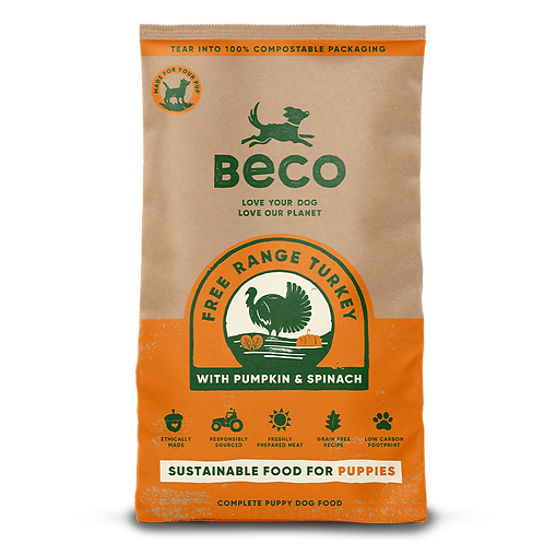 Turkey with Pumpkin and Spinach Beco Pets Dry Food for Puppies