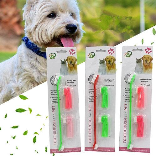 3 Pcs/Set Double Head Soft Pet Finger Toothbrush