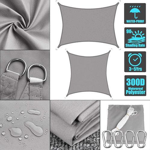 Waterproof 300D Gray Square Rectangle Sun Shade