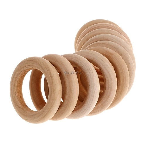 10 Pcs/Set Natural Wooden Ring Chew Toys