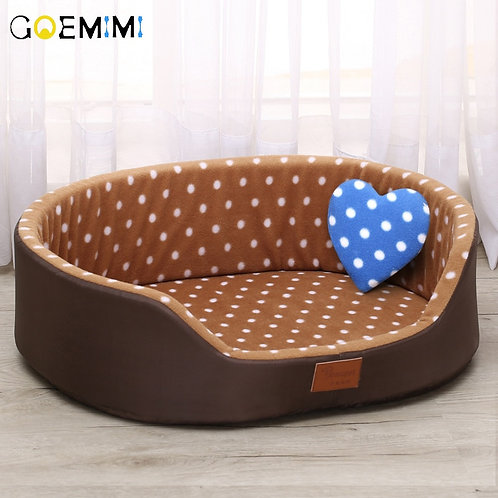 Brown Polka Dot Bed for Dogs