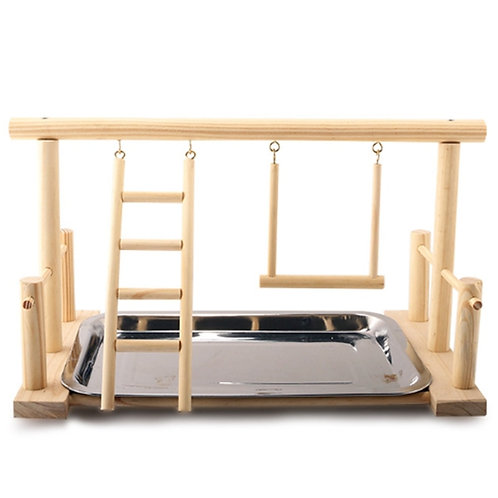 Wooden Play Gym with Stainless Steel Mess Tray