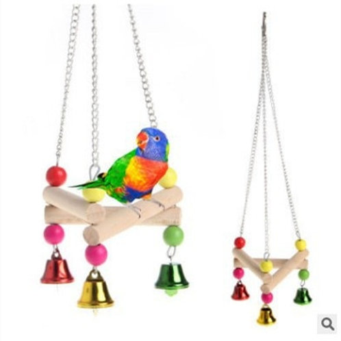 Hanging Wooden Parrot Swing