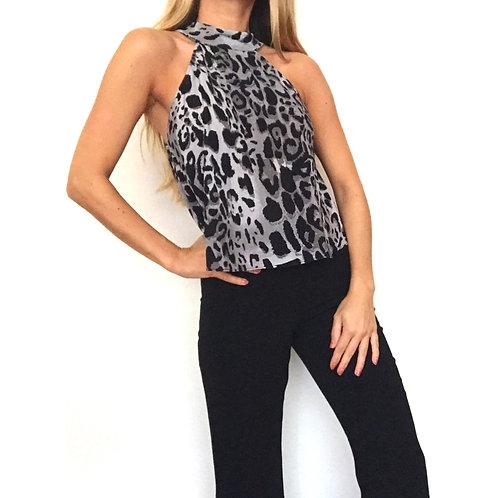Blusa Halter Grey Leopard