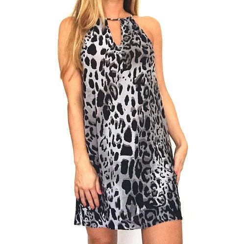 Vestido Halter  - Grey Leopard