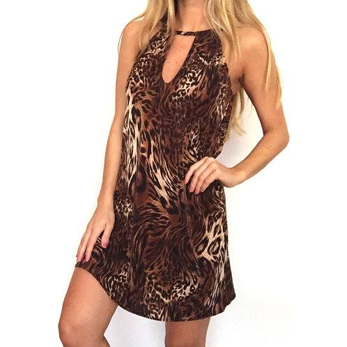 Vestido Halter  - Blonde Leopard