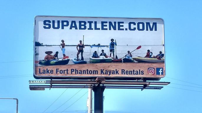 billboard for SupAbilene kayak rentals