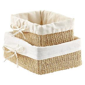 Natural linen lined baskets