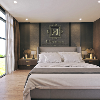 Luxury Villa With King Bed Logo Mock-up.